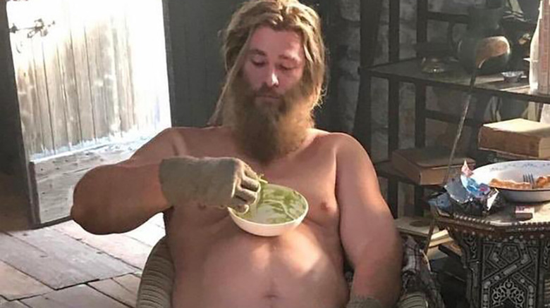 Thor in Avengers: Endgame eating guacamole