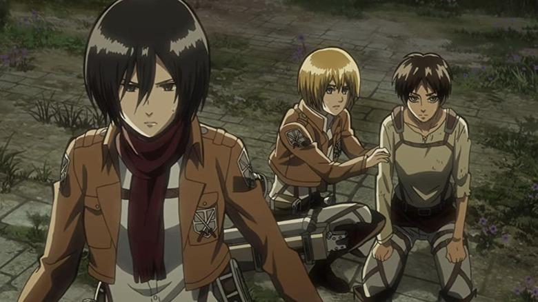 Mikasa and Armin looking alert Attack on Titan