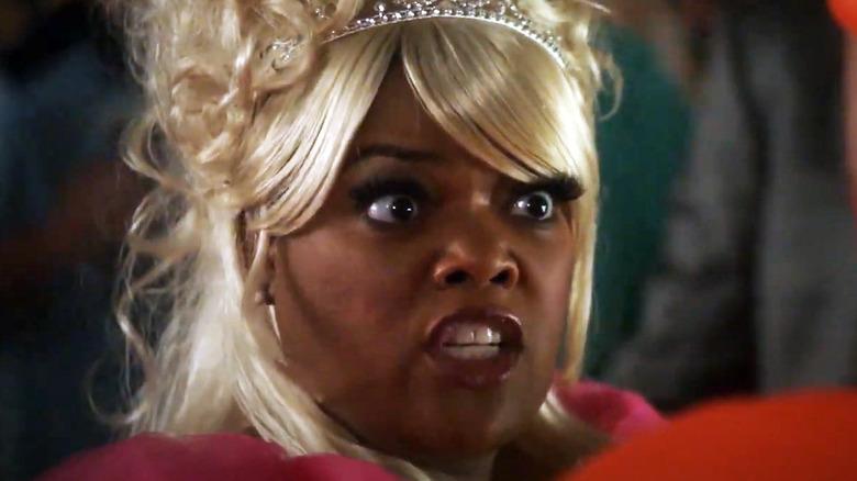 Shirley Bennett wearing Glinda wig
