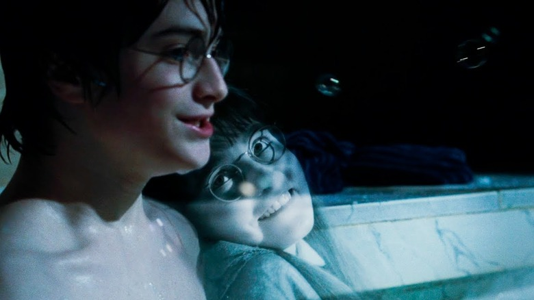Moaning Myrtle and Daniel Radcliffe as Harry Potter in Harry Potter and the Goblet of Fire