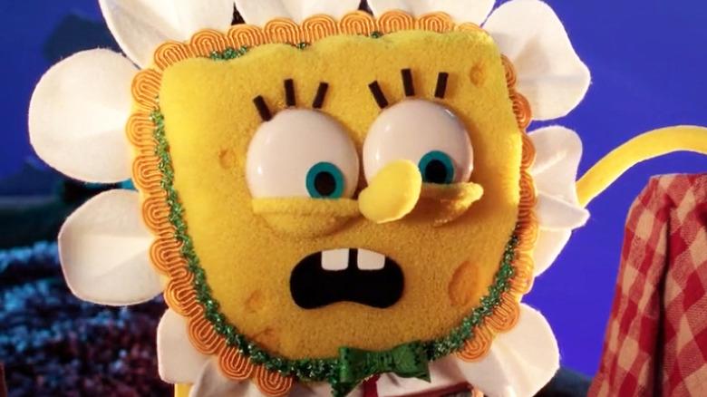 Puppet SpongeBob in flower costume