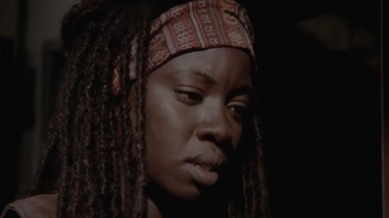 Michonne looks down