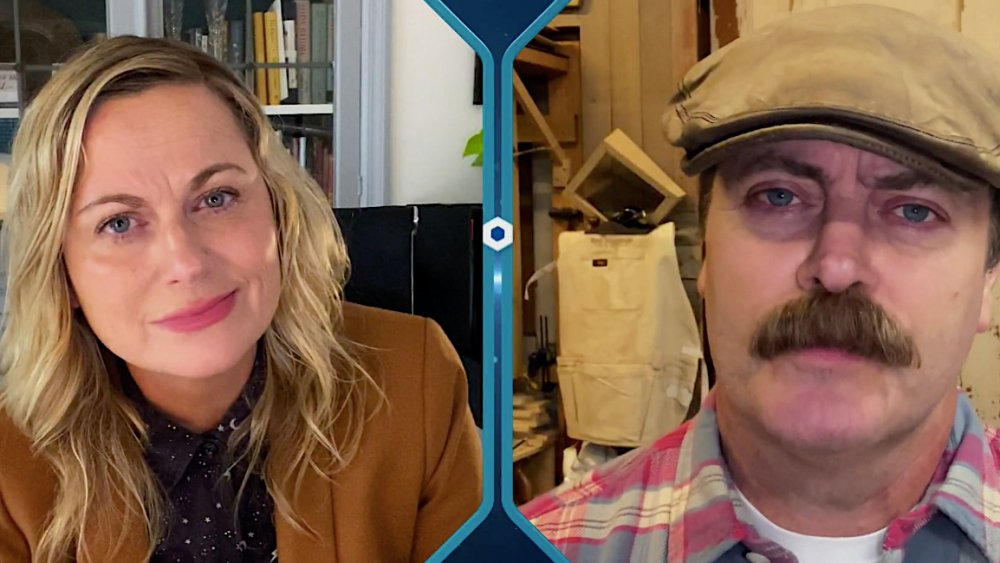 Amy Poehler as Leslie Knope and Nick Offerman as Ron Swanson on the Parks and Recreation reunion