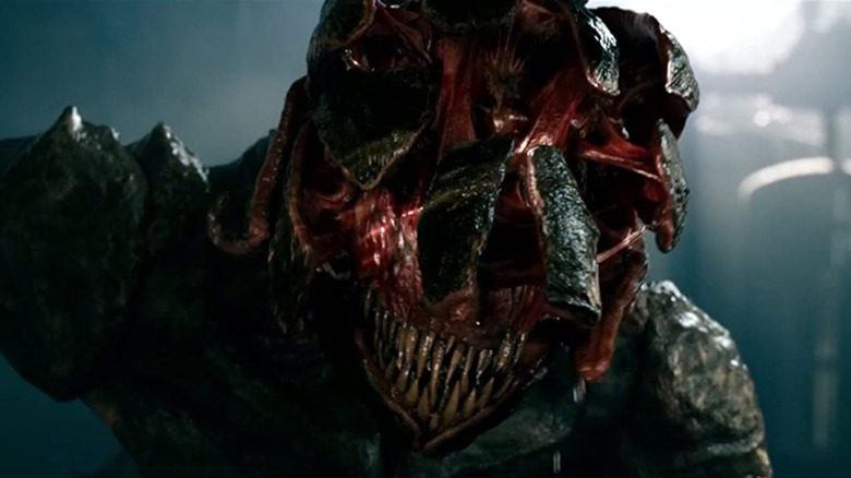Closeup of monster showing teeth