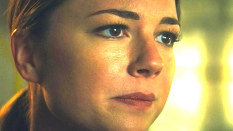 Sharon Carter looking worried
