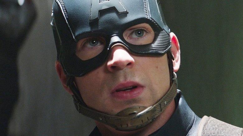 Cap looking surprised in his helmet