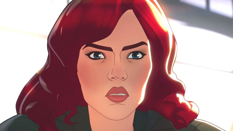 Animated Black Widow frowning