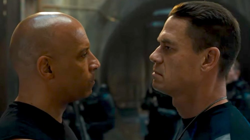 Vin Diesel as Dom Toretto and John Cena as Jakob Toretto in Fast & Furious 9