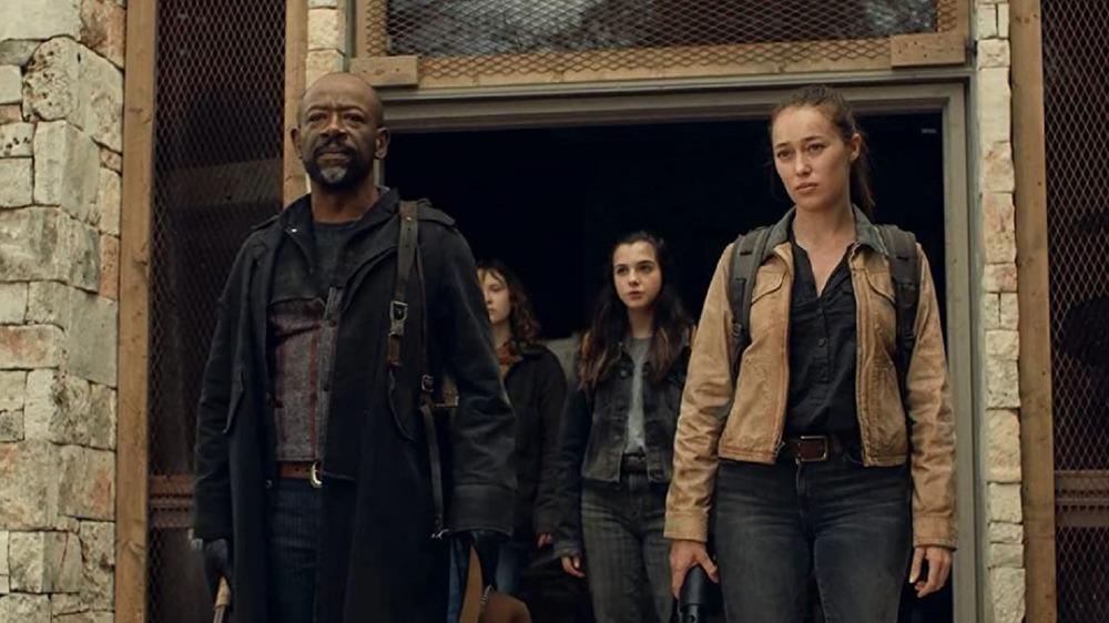 Lennie James, Alycia Debnam-Carey, Zoe Margaret Colletti, and Alexa Nisenson as Morgan Jones, Alicia Clark, Dakota, and Charlie on Fear the Walking Dead