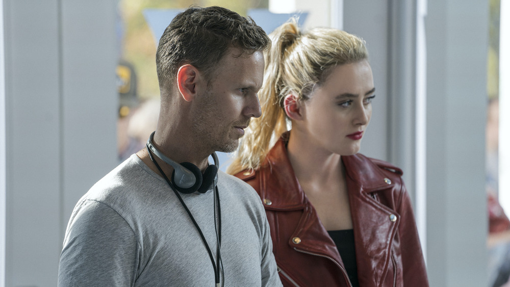 """(from left) Co-writer/director Christopher Landon and Kathryn Newton on the set of """"Freaky."""""""