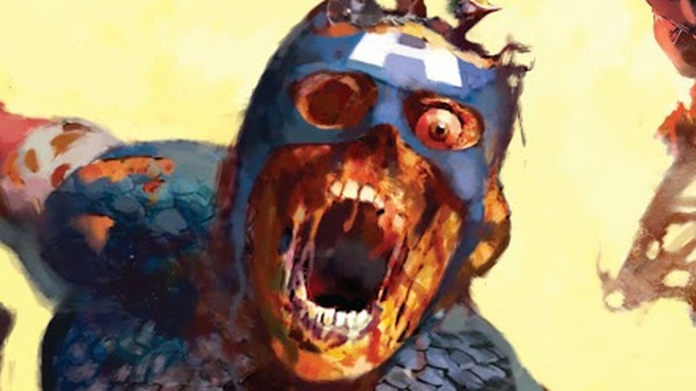Zombified Captain America on the cover of Marvel Zombies 1