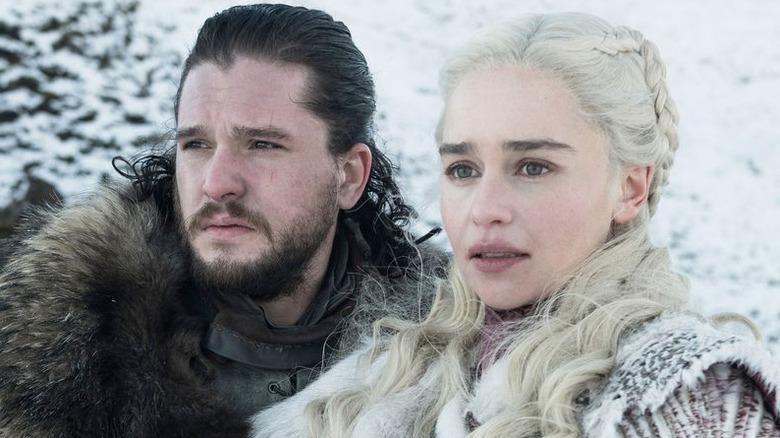 Kit Harington and Emilia Clarke as Jon Snow and Daenerys Targaryen on Game of Thrones