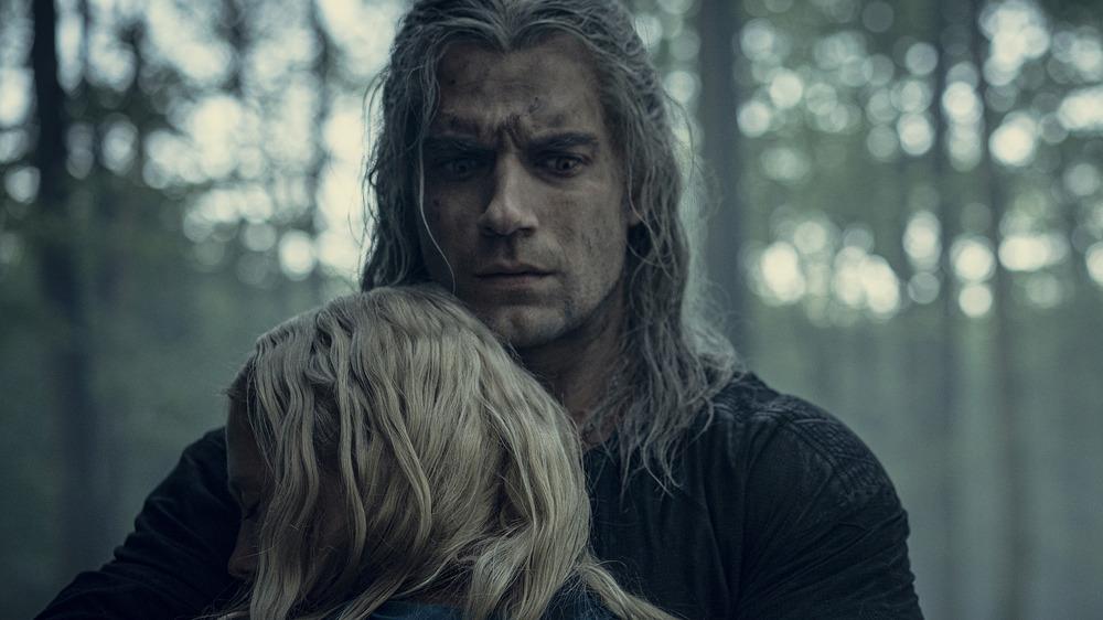 Geralt hugging Ciri
