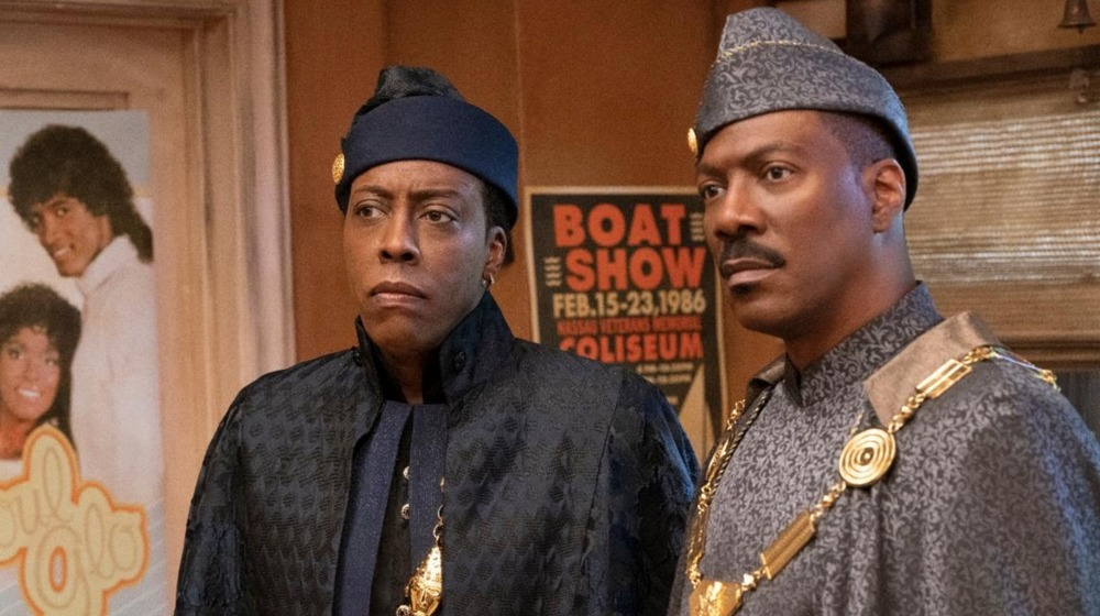 Arsenio Hall and Eddie Murphy wearing African finery