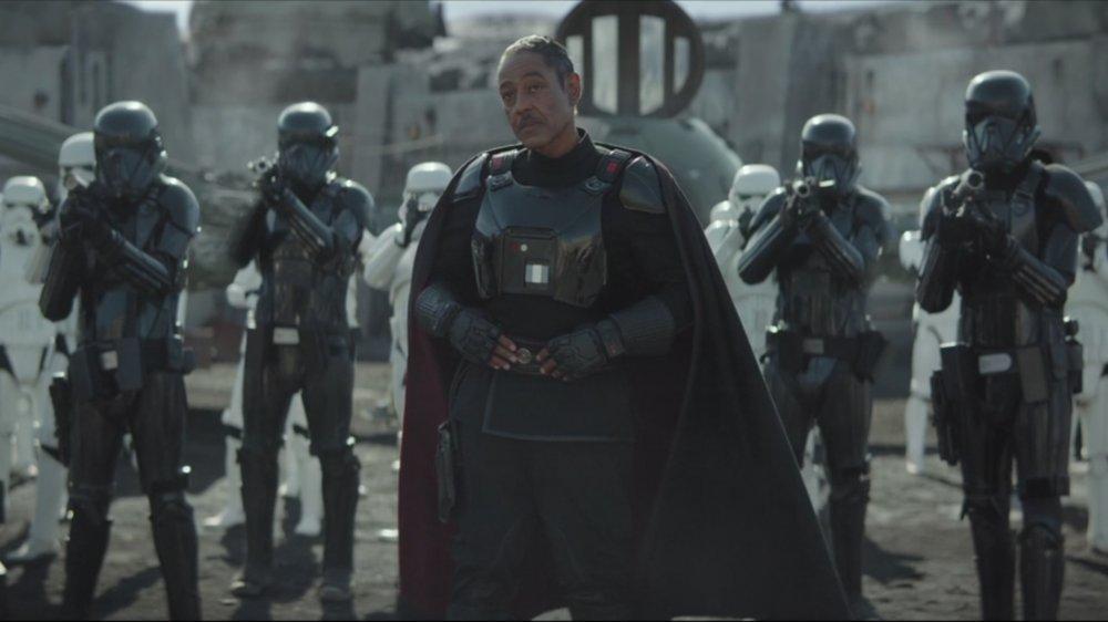 Giancarlo Esposito as Moff Gideon on The Mandalorian with Stormtroopers