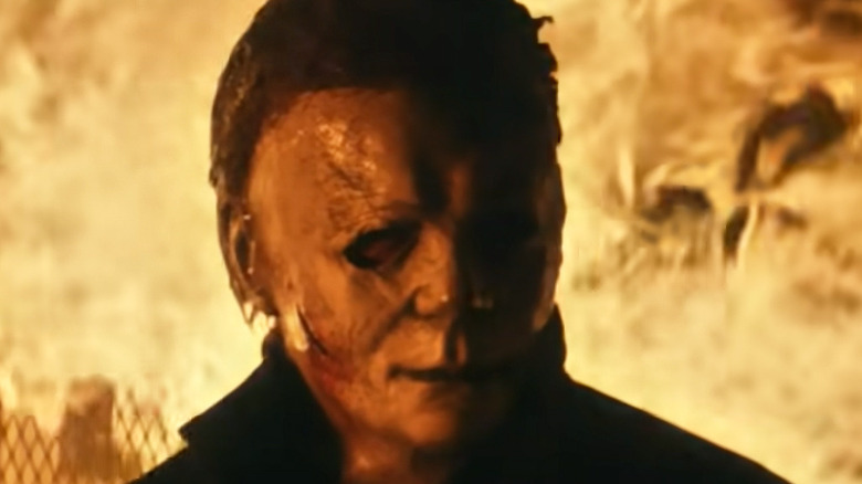 Michael Myers backlit by fire