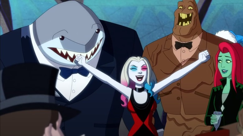 Harley Quinn, King Shark, Poison Ivy, and Clayface in the Harley Quinn animated series
