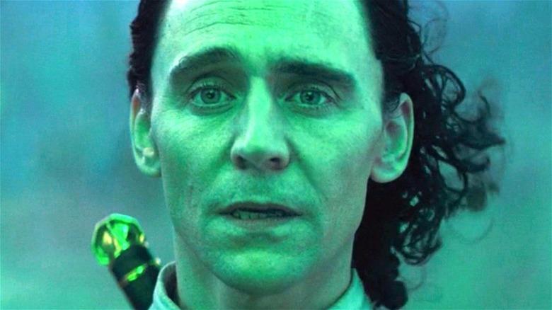 Tom Hiddleston as Loki in green light