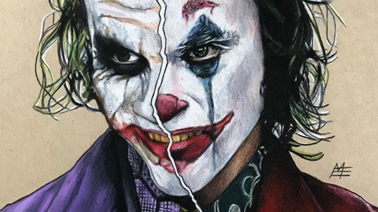 Joker Heath Ledger Joaquin Phoenix split art