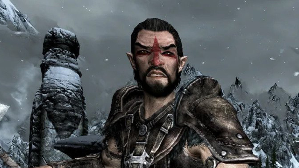 Skyrim character holds an ax