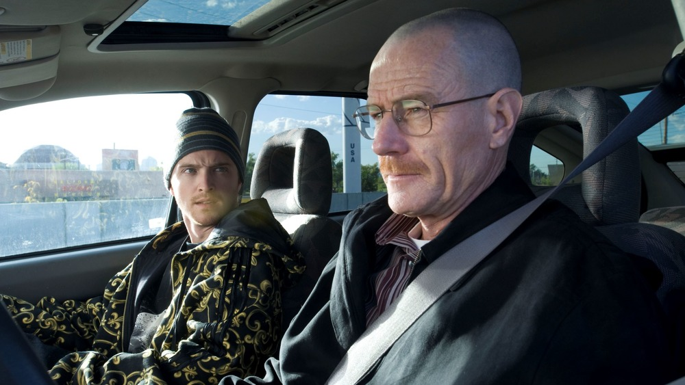 Jesse (Aaron Paul) and Walter (Bryan Cranston) sit in a car on Breaking Bad