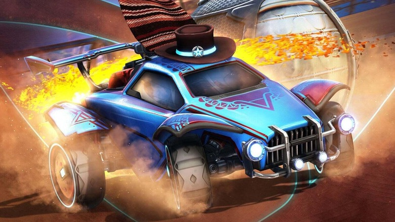 Rocket League car with hat and blanket