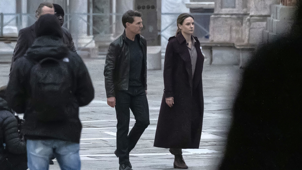 Tom Cruise and Rebecca Ferguson on the set of Mission: Impossible 7