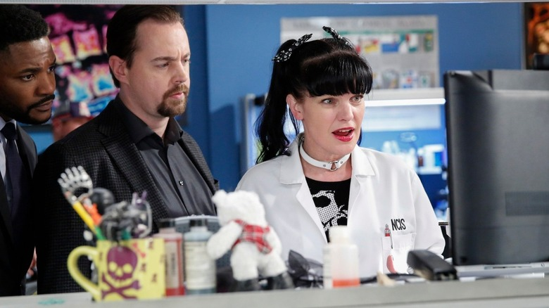 Abby working in her lab on NCIS