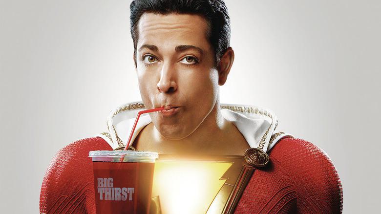 Zachary Levi Shazam sipping soda