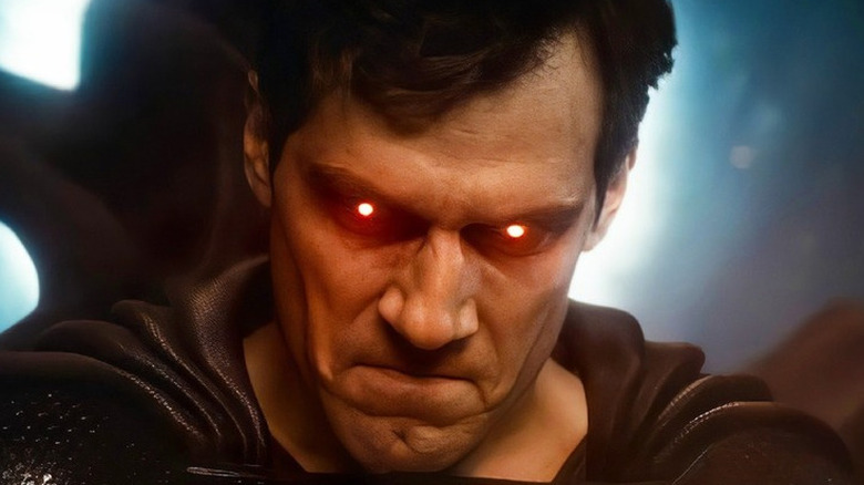 Superman with glowing red eyes