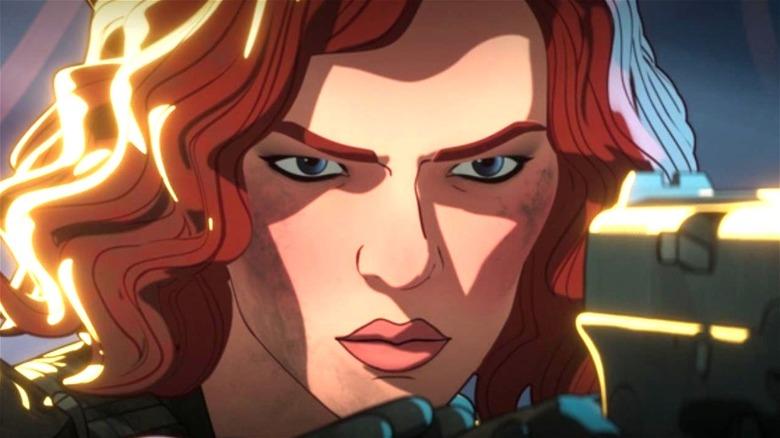 Black Widow holding gun in What If...?