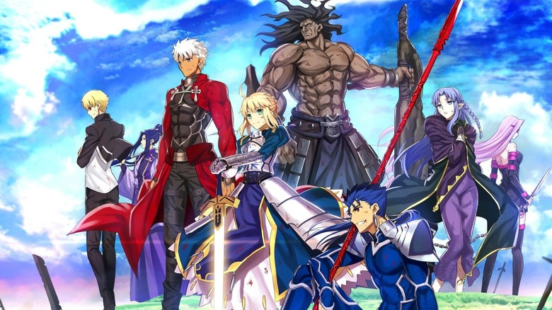 Saber and servants stand proudly