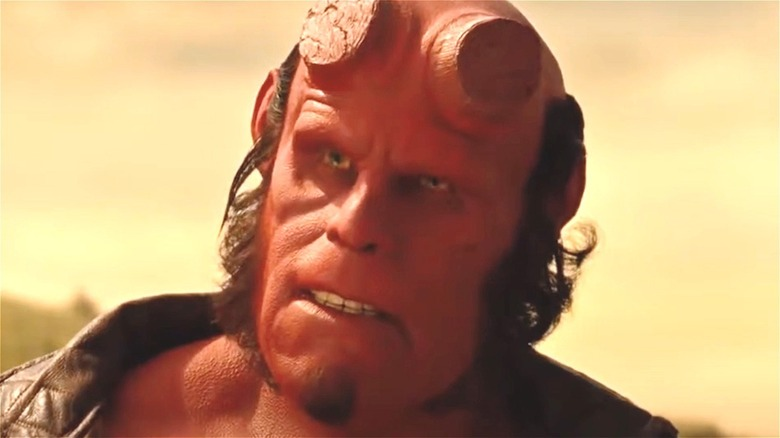 Ron Perlman as Hellboy looking annoyed