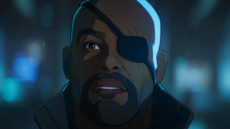 Nick Fury looking to the sky