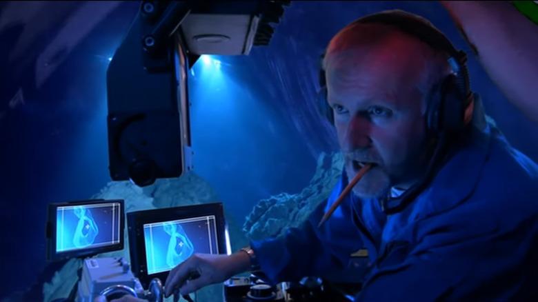 James Cameron in a submarine