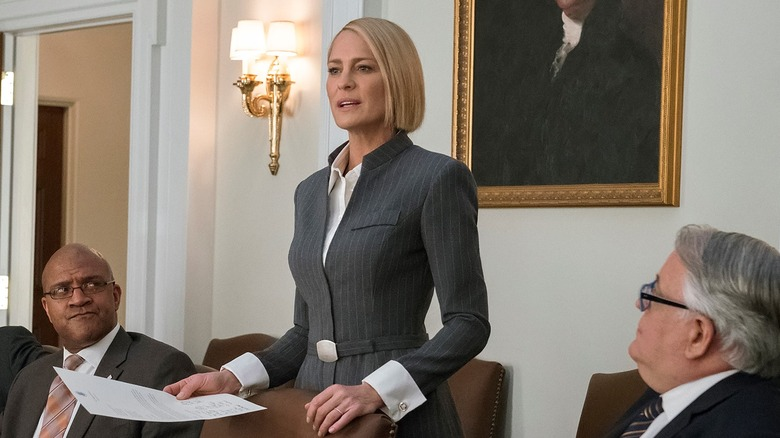 Robin Wright as Claire Underwood on House of Cards season 6