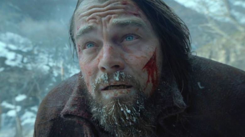 Leonardo DiCaprio freezes in The Revenant