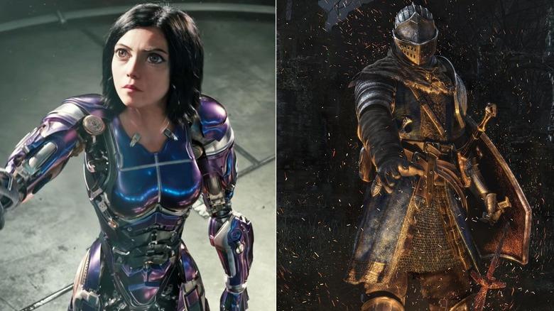 Rosa Salazar as Alita in Alita: Battle Angel and the box art of Dark Souls: Remastered