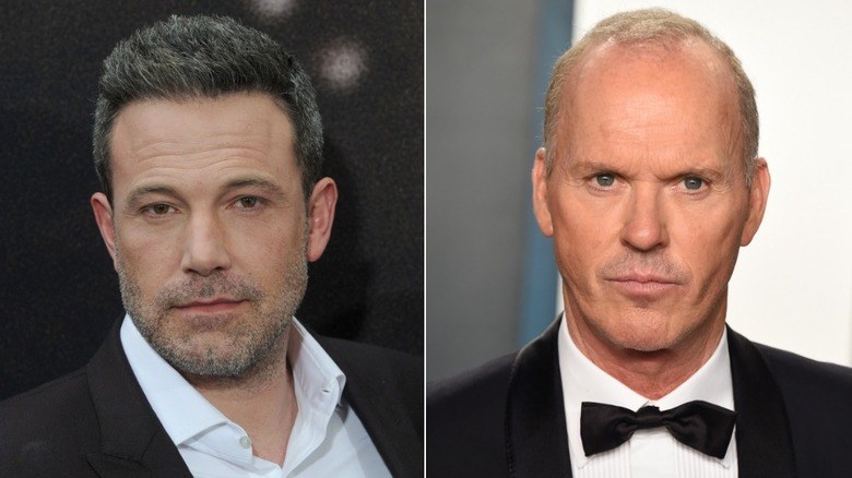 """Ben Affleck at the premiere of """"The Way Back"""" and Michael Keaton at the 2020 Vanity Fair Oscar Party"""