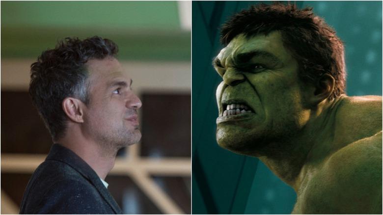 Split image of Mark Ruffalo as Bruce Banner and Hulk