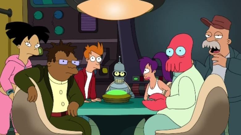 Amy, Hermes, Fry, Bender, Leela, Zoidberg, and Scruffy in Futurama