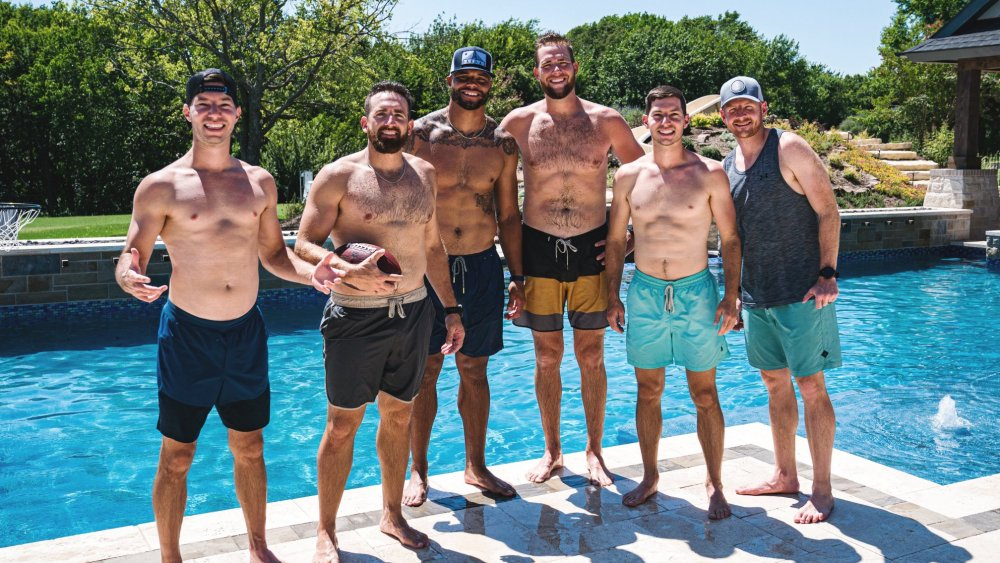 The men of Dude Perfect at the pool