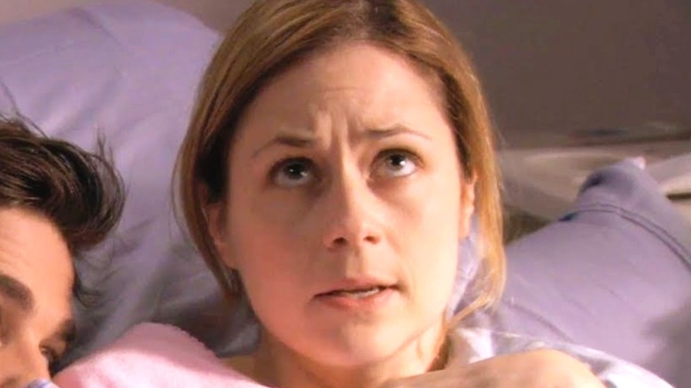 Jenna Fischer looking up on The Office