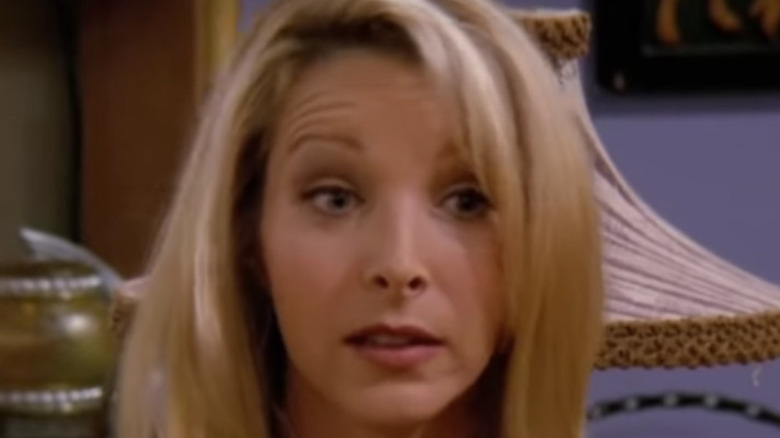 Phoebe raising her eyebrows while speaking