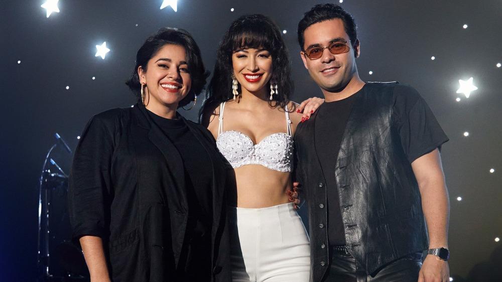 Noemi Gonzalez as Suzette Quintanilla, Christian Serratos as Selena Quintanilla and Gabriel Chavarria as A.B. Quintanilla in Selena: The Series