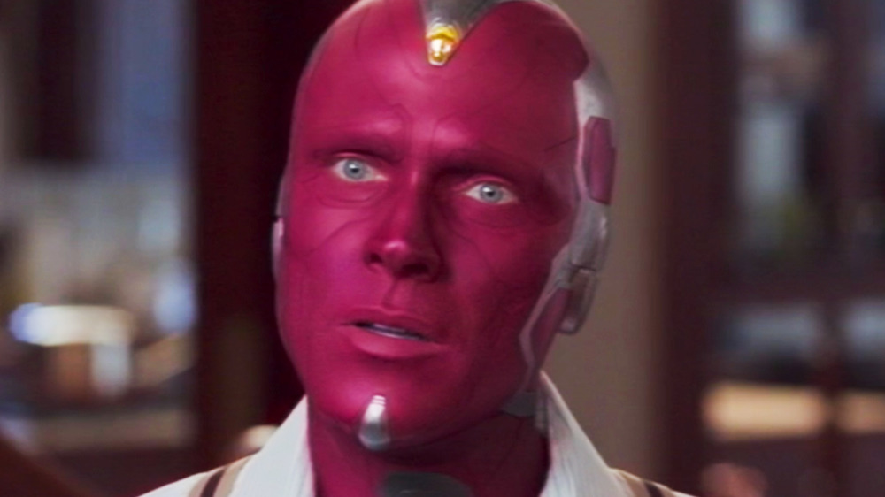 Vision red face staring at Pietro off screen