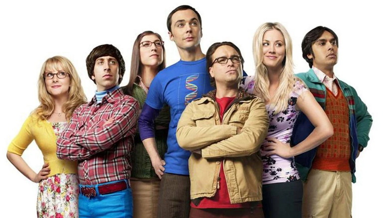 The cast of The Big Bang Theory standing together