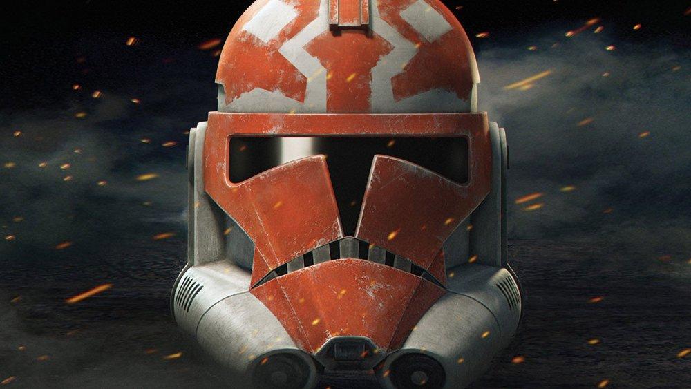 An Ahsoka-themed Clone Trooper helmet from the final season of Star Wars: The Clone Wars