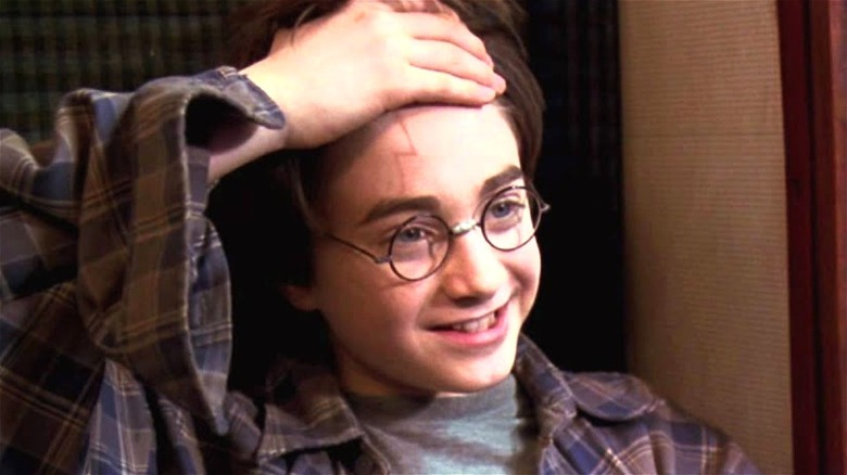 Harry Potter shows his scar in the Sorcerer's Stone