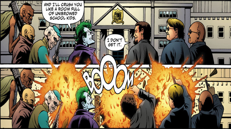 Joker blows up a school building in Batman: Cacophony 1
